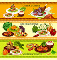 greek cuisine seafood dishes with rice dessert vector image vector image