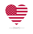 heart with american flag color and symbols vector image vector image
