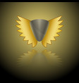 image of a gray shield logo with golden wings on vector image vector image
