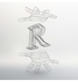 letter R and hand of lines vector image