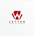 logo polygon letter w negative space vector image vector image