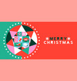 merry christmas banner geometric xmas star icon vector image