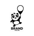 modern panda on a balloon logo vector image vector image