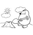mole cartoon coloring page vector image vector image