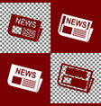 newspaper sign bordo and white icons and vector image