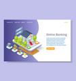 online banking website landing page design vector image vector image
