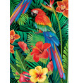 parrot with tropical plants vector image vector image