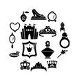 princess doll icons set simple style vector image vector image