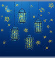 ramadan kareem greeting with golden lantern vector image