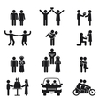 Relationship and wedding people icon set vector image vector image