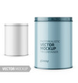 round glossy tin can template with sample design vector image vector image