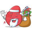 santa knitting character cartoon style vector image
