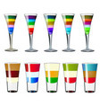 set layered alcoholic cocktails in different vector image