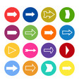 set of sixteen arrows in a colorful circles vector image