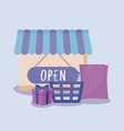 shopping basket and set icons vector image vector image