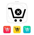 Shopping cart delete icon vector image vector image