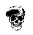 Skull in baseball cap design element for poster