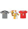 sport uniform jerseys colorful soccer shirts flat vector image vector image