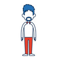 standing man avatar people blue and orange cartoon vector image vector image