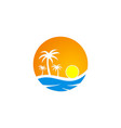 sunset tropic palm tree beach travel logo vector image vector image