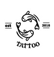 tattoo two fish yin yang concept background vector image