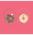 two donuts make heart shape funny cartoon vector image vector image