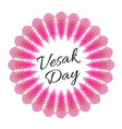 vesak day card with pink lotus vector image