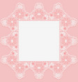 vintage lace doily with knotted flowers on pink vector image vector image