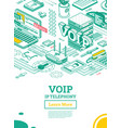 voip ip telephony services isometric outline vector image vector image