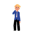 flat business man pinching nose isolated vector image