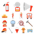 fire department cartoon icons in set collection vector image