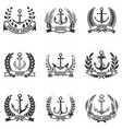 set of the emblems with anchors and wreaths vector image