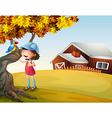 A girl and a bird at the backyard vector image vector image