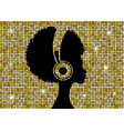 afro girl listens to music on headphones vector image