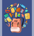 backpack poster banner kids school backpack with vector image