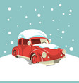 beautiful retro car in the snow on the background vector image vector image