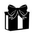 black icon christmas gift cartoon vector image