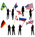 Black silhouettes of mans and womans with flags vector image