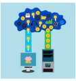 business computer cloud internet icon vector image vector image