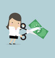 businesswoman cutting dollar banknote vector image vector image
