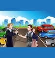 car salesman with customers in the dealership vector image vector image