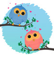 cartoon couple owl girl and boy love vector image vector image