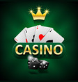 casino marketing banner with dice and poker cards vector image vector image
