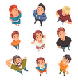 cheerful people characters looking up set view vector image vector image