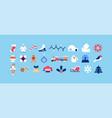 christmas season minimalist geometric icon set vector image