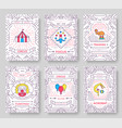 circus thin line brochure cards set festival vector image