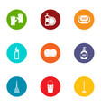 clean icons set flat style vector image vector image