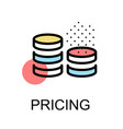 coin icon for pricing on white background vector image vector image
