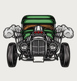 colorful retro hot rod front view vector image