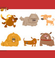 cute dog cartoon characters set vector image vector image